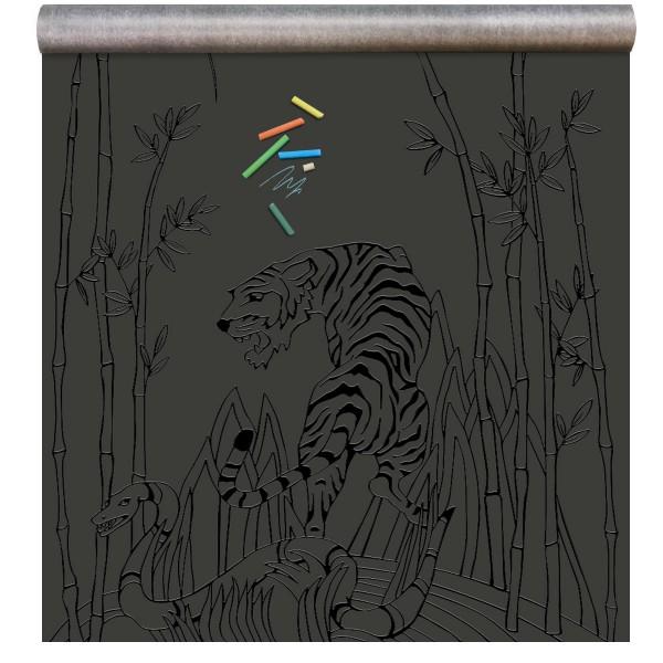 papier peint magn tique 39 tableau noir 39 singe empreinte noir gloss groovy magnets. Black Bedroom Furniture Sets. Home Design Ideas