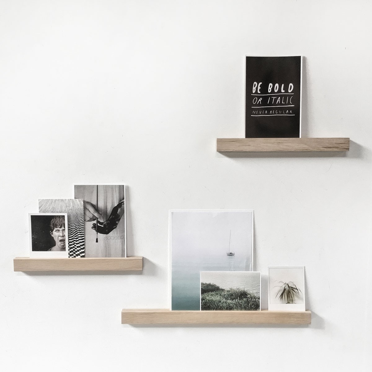 Magnetic wooden shelf Outlet - for post cards, photos,.. - Groovy Magnets