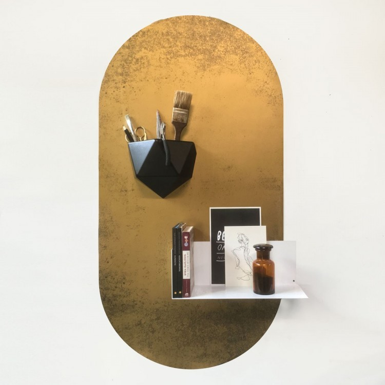 Magnetic oval shaped vintage golden wall sticker by Groovy Magnets ideal for doors